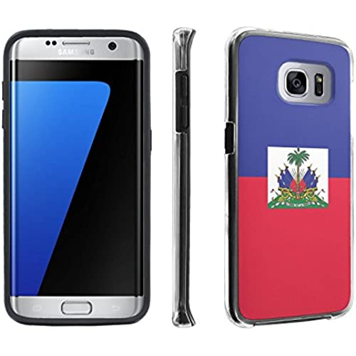 Samsung Galaxy S7 Edge / GS7 Edge [5.5 Screen] Case, [SkinGuardz] Hybrid Tough Impact Resistant Case - [Haiti Flag] Print Design Sales