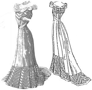 1901 Evening Gown Of Tulle Taffeta Pattern