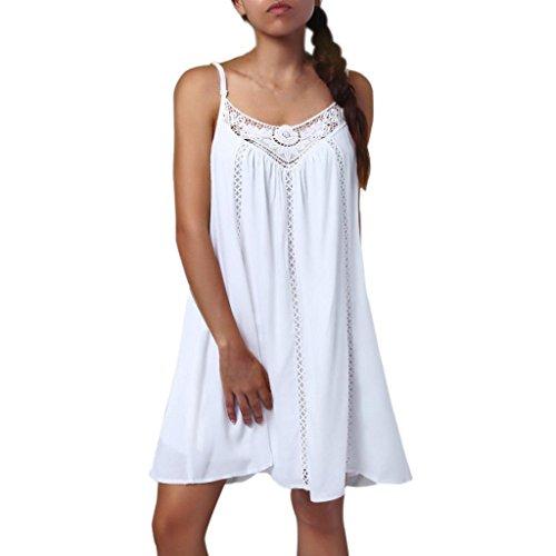 Syban Women Casual Solid Lace Stitching V-Neck Sleeveless Maxi Mini Dress (Terry Dress Strapless Beach)