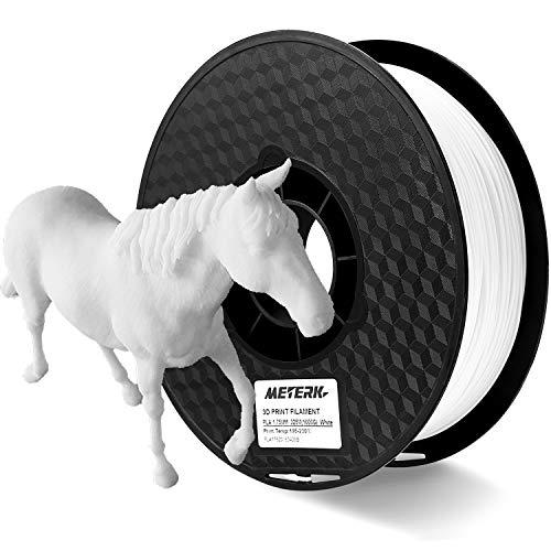 (3D Printer Filament, Meterk 1.75mm PLA Filament Refills 1kg/Roll 2.2LBS 1kg Spool for MakerBot ANET RepRap 3D Printer (White) )