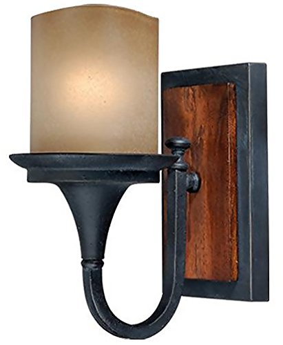 Vaxcel W0042 Meritage 1 Light Wall Light  Charred Wood Black Iron Finish