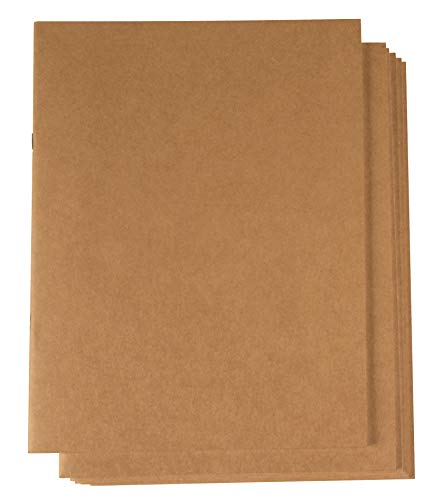 Kraft Notebook - 6-Pack Unlined Blank Books, Unruled Plain Travel Journals for Students, School, Children's Writing Books, Creative Class Projects, Brown, 8.5 x 11 Inches, Letter Sized, 24 Sheets Each