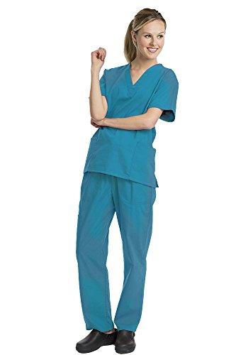 Deluxe 2pk Medical Scrubs for Women Nurse Uniform Set Solid V-Neck, Teal, Large