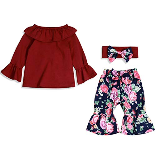 3PCS 6 12 18 24 Months Girl Clothes Set Newborn Toddler Baby Girl Bell Bottoms Off Shoulder Red T-Shirt Top + Long Floral Flare Pants Outfit Set 12-18 Months (18 Bell Bottom)
