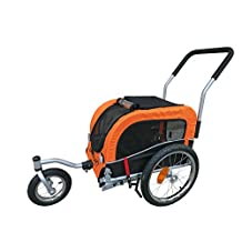 Small Pet Stroller and Bike Bicycle Trailer (Orange)