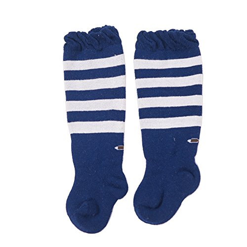 FQIAO Cute Knee High Cotton Socks Thick And Warm Autumn and Winter Unisex Baby Socks Soft Stretchable Gift for Newborn And Baby-M 1-3 Years Blue]()