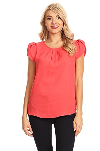 (April Apparel Women's Basic TOP (X-Large, New Coral))