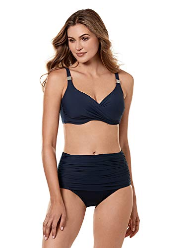 (Miraclesuit Women's Swimwear Solid Norma Jean Retro Style Tummy Control Bathing Suit Bottom, Midnight, 14)