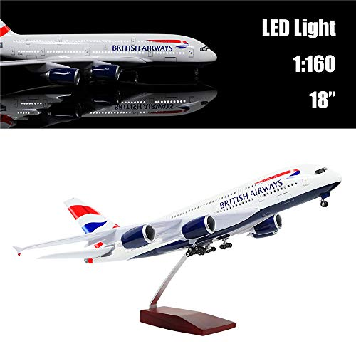 """24-Hours 18"""" 1:160 Scale Diecast Plane Model Britain A380 Airplane Collection with LED Light(Touch or Sound Control) for Decoration or Gift"""