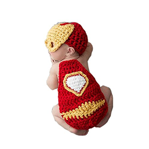 Pinbo Newborn Baby Photography Prop Crochet Knitted Iron Man Hat Cover -