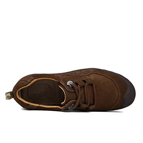 Leather Loafers Suede DEKESEN Brown Lace Men's Trekking Waterproof Shoes Hiking E46qa6