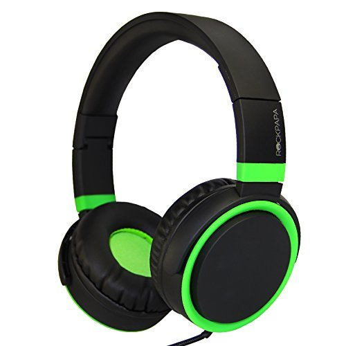 Green Portable Mp3 Cd - RockPapa Over Ear Stereo Foldabe Headphones Adjustable, Noise Isolating, Heavy Deep Bass, Folding Headsets with Microphone 3.5mm for Smart Phones Tablets Computers MP3/4 DVD (Black/Green)