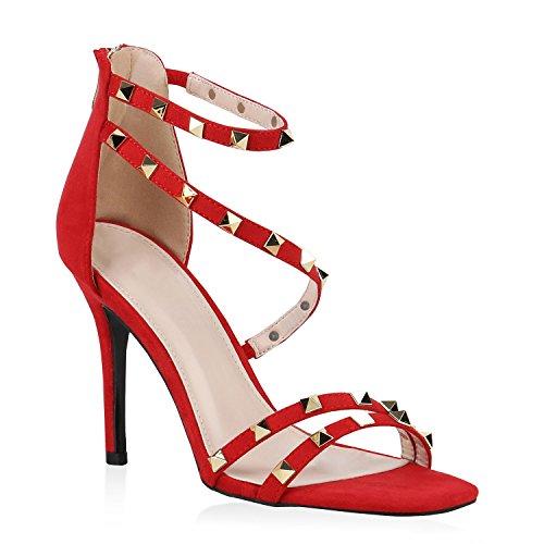 Party Damen Sandaletten Glitzer High Heels Plateau Sandaletten Strass Nieten Damenschuhe Snake Lack Stilettos Schnallen Schuhe Flandell Rot Nieten