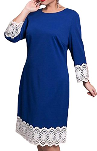 Dress Sleeve Long Women's Cruiize Elegant Stitching Club Crewneck Blue Lace WnWHwrx581