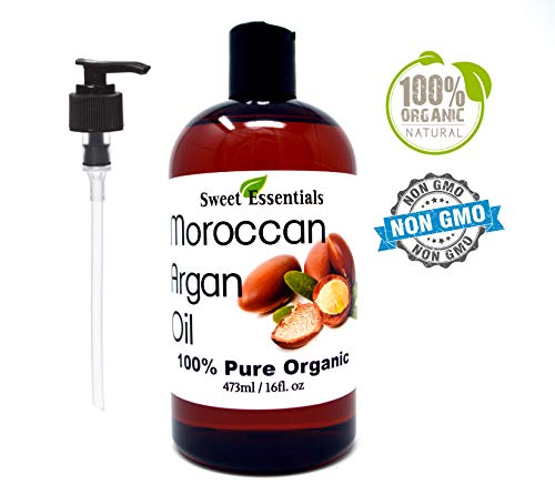 Premium Organic Moroccan Argan Oil 16oz Imported from Morocco FREE Pump incuded From Raw Unraosted Nuts 100 Pure Miracle Oil For Every Skin Condition, Hair, Nails, Anti-aging More
