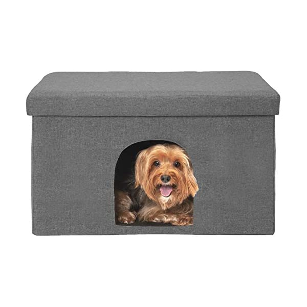 FurHaven Pet House   Footstool Ottoman Pet House for Dogs & Cats, Stormy Gray, Large