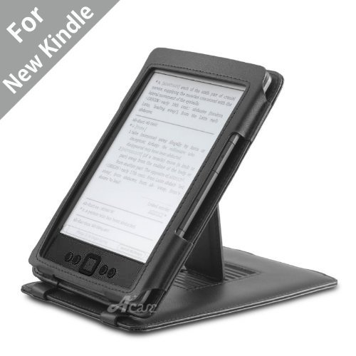 Acase Genuine Leather Flip Case for Classic Kindle with Multiple Position Stand (Black) by Acase