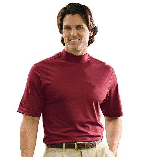 (Monterey Club Mens Dry Swing Lightweight Solid Mock Jersey Shirt #3302 (Maroon, X-Large))
