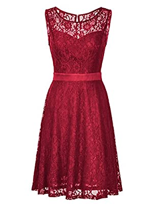 Noctflos Women's Elegant Fit Flare Sleeveless Knee Length Lace Cocktail Dress