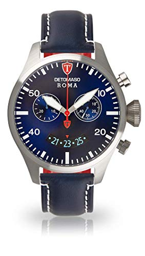 DETOMASO ROMA Men's Watch Chronograph Analog Quartz Blue Leather Strap Blue Dial DT1079-C