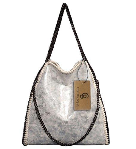 Womens Handbags Purse Tote Hobo Shoulder Crossbody Bags Chain Strap,Silver-white