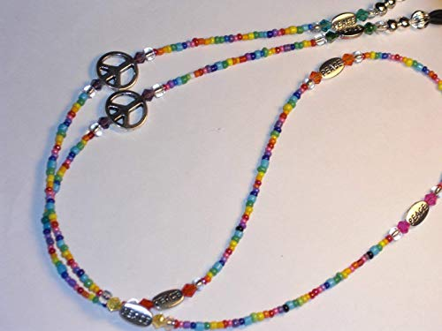 Beaded PEACE Eyeglass Chain Holder Necklace Rainbow Mix Glass Seed Beads 28 inches