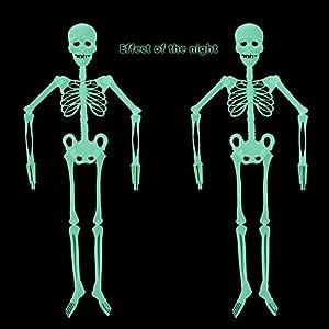 Fan-Ling Halloween Skeleton,Halloween Props, Luminous Human Skeleton,Outdoor Hanging Decoration Party, Best Halloween Decoration,Plastic Material (90CM)