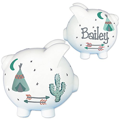 Childrens Hand Painted Personalized Teepee Piggy Bank Southwest Baby Gift W Arrows