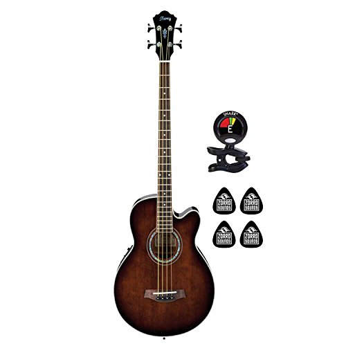 Ibanez AEB10E DVS 4 String Acoustic Electric Bass Guitar with Spruce Top and AEQ-SP2 preamp w/Onboard Tuner (Bundle) with Clip on Guitar Tuner and 4 Zorro Sounds Guitars Picks – Dark Violin Sunburst