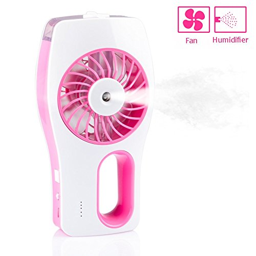 Mini Cooling Fan Humidifier CrazyFire 3 Speeds Portable Mini USB Rechargeable Cooling Fan Misty Hydrating Fan for Hot Summer Outdoor Traveling (Pink)