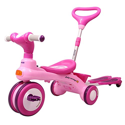 HYCy Children's Bicycle, Folding Bike 1-6 Years Old, Baby Stroller, Detachable Hand Push Rod, Ride-Sliding One Double Car