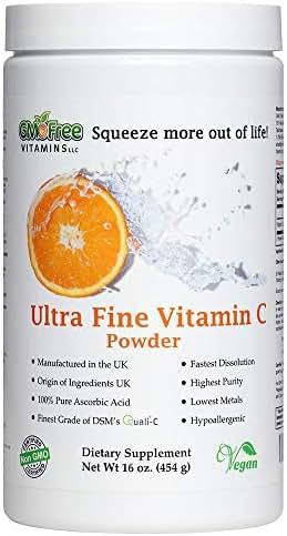 GMO Free Vitamins - Ultra Fine Vitamin C Powder (16 Oz) - 1,000 MG Per Serving, 1,667% of Suggested Daily Value - Highest Grade of L-Ascorbic Acid for Maximum Bioavailability - Vegan