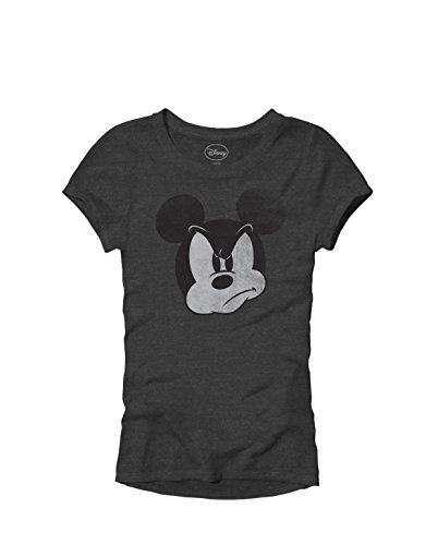 Disney MAD Mickey Mouse Graphic Tee Classic Vintage Disneyland World Adult Women's Juniors Slim Fit Graphic Tee T-Shirt Apparel (Heather Charcoal, Junior's Small)