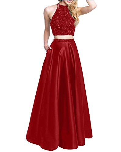 Festlichkleider teilig Promkleider Steine Rot Lang mit mia Abendkleider Abschlussballkleider La Partykleider Jugendweihe Brau Zwei Kleider Dunkel 1FqHTwvTx