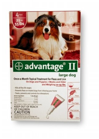 Advantage II Flea and Lice Treatment for Dogs 21-55 LB 4 MONTH