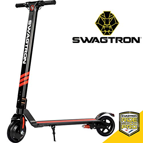 Swagger Pro Foldable Electric Scooter w/Cruise Control, 14.2-Mile Range, Rear Suspension and 15.5 mph Max Speed (SG-3) (Black)