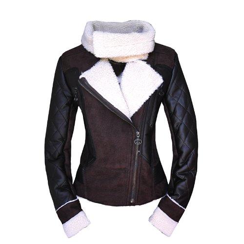 Oyoursfashion Womens Jacket Slim Short Faux Fur Leather Turn Down Collar Coat