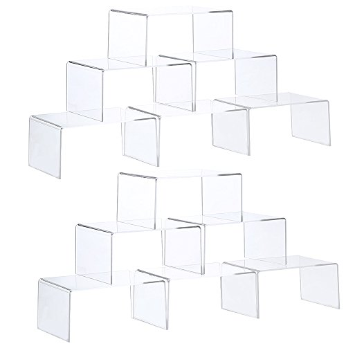 ihomecooker 12 Pack Clear Acrylic Display Risers Showcase for Jewelry Funko Pop Figure Toy Stand 4