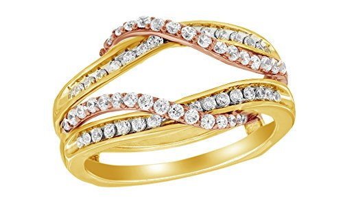 Jewel Zone US White Natural Diamond Overlay Solitaire Enhancer Ring in 14K Two-Tone Yellow Gold 1/2 Ct
