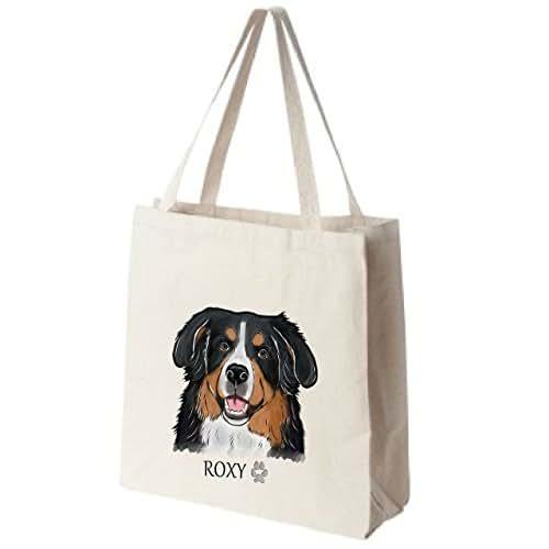 Cotton Canvas Reusable Tote Bag - Personalized Bernese Mountain Dog Portrait Color Design - Choose Your Breed
