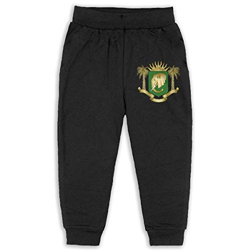 Coat of Arms of Ivory Coast (2) Kids Cotton Sweatpants Jogger Long Jersey Sweatpants Black 2T -