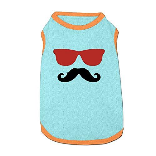 Cowboy Moustache Sunglasses Pet Dog 100% Fleece Vest Clothing SkyBlue - Toronto Sunglasses