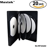 Maxtek Black 8 Disc DVD Cases with 3 Flip Trays and Outter Clear Sleeve, 20 Pcs Pack