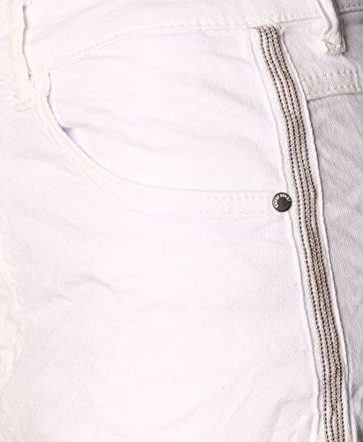 Boyfriend ìwptp pantaloni Metallstreifen Destroyed Chino look Jeans tubi donna Boyfriend Batik Jeans Boyfriend da Weiss pantaloni qw1avWB