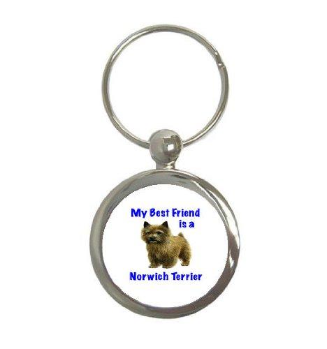 Norwich Terrier Keychain - My Best Friend is Norwich Terrier Round Keychain