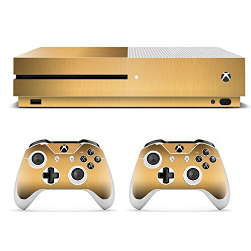 eSeeking Whole Body Vinyl Skin Sticker Decal Cover for Microsoft Xbox One Slim Console Metal Drawing Gold (Xbox 360 Vinyl Skin)