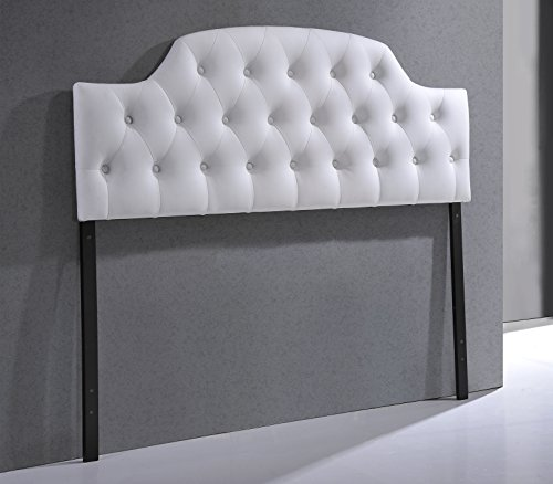 Zen White Leather - Baxton Studio Wholesale Interiors Morris Modern and Contemporary Faux Leather Upholstered Button-Tufted Scalloped Headboard, Queen, White