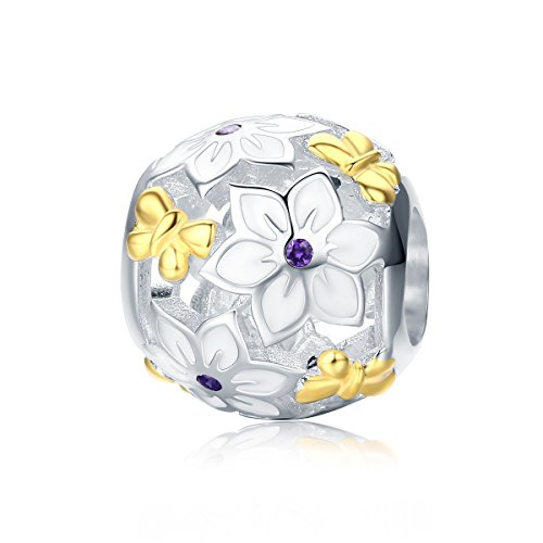- PHOCKSIN Gold Plated Butterfly Flower Bead Charms 925 Sterling Silver fits Bracelet Purple CZ