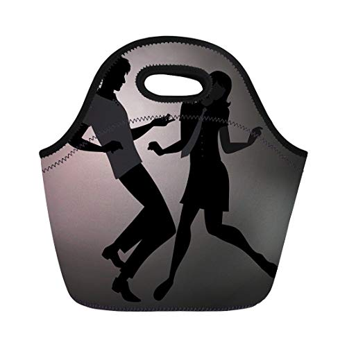 Semtomn Lunch Bags 1970S We Are Mods Silhouettes of Couple Wearing Retro Neoprene Lunch Bag Lunchbox Tote Bag Portable Picnic Bag Cooler Bag -