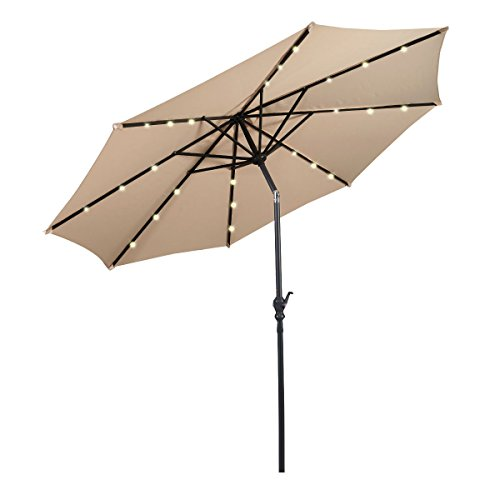 Giantex 10FT Patio Solar Umbrella LED Patio Market Steel Tilt W/ Crank Outdoor New